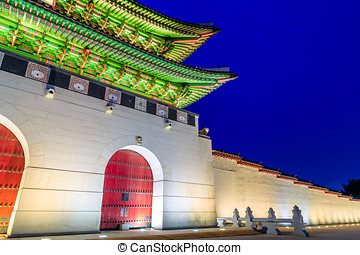 Palace Gate - Gyeongbokgung Palace Gate At Night