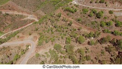 Aerial. Flight Over Curvy Road in Mountains - Aerial. Flight...
