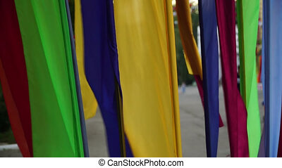 flags of different colors close up