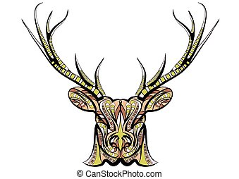 ethnic deer islolated on a white bckground