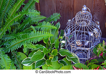 Decorative bird cage in green garden - Decorative bird cage...
