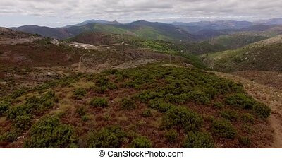 Aerial View from Flying Drone. Spanish Mountains in...