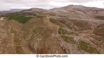 Aerial View from Flying Drone Spanish Mountains in Andalucia...