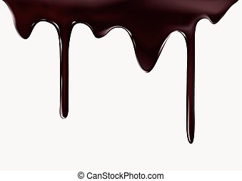 Chocolate flow on white background