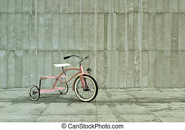 pink tricycle on concrete