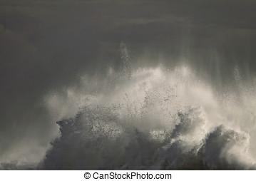 Huge breaking wave - Detailed big breaking wave in an early...