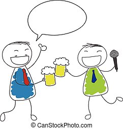 two businessman drink beer and singing and thumbs up for...
