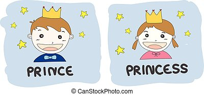 cartoon prince and princess with gold crown and yellow stars...