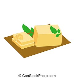 butter - vector illustration of butter, butter curl and herb...