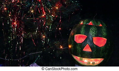 halloweens watermelon under the chr - close-up watermelon as...