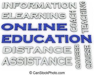 conceito, palavra, imagem,  Online, Educação, nuvem,  3D