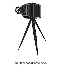 Old photo camera with tripod  silhouette illustration