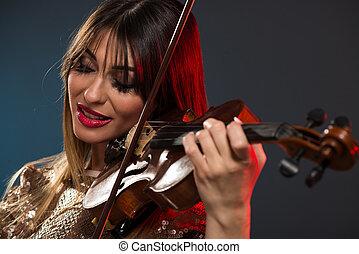 bonito, violino, mulher, tocando