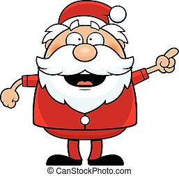 Cartoon Santa Claus Pointing