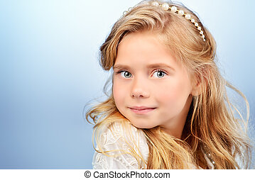 angel girl - Portrait of a pretty little girl with beautiful...