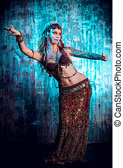 belly dance - Art portrait of a beautiful traditional female...