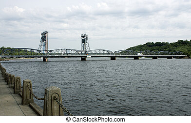 Vintage lift bridge - A vintage lift bridge spanning the...