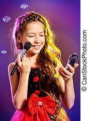 positive beauty - Cute teen girl in a beautiful festive...