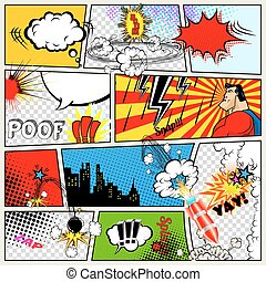 Comics Template. Retro Comic Book Speech Bubbles Illustration. Mock-up of Comic Book Page with place for Text, Speech Bubbles, Symbols, Sound Effects, Colored Halftone Background and Superhero