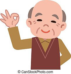 OK sign of senior men - Vector illustration