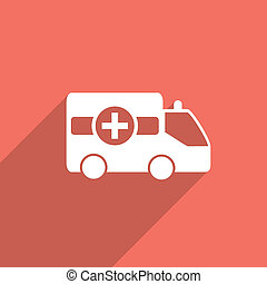 ambulance car flat icon. - ambulance car web flat icon...