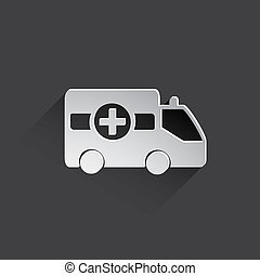 ambulance car flat icon. - ambulance car web flat icon...
