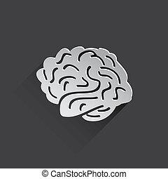 平ら, アイコン, 人間, 脳