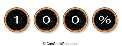 100 Percent Typewriter Keys - The text 100 percent in...