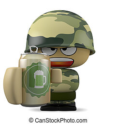 Mini soldier - 3D Cartoon character. Soldier holding a beer...