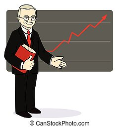 A man stands near the diagram of the arrow. Vector illustration.