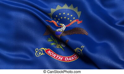 North Dakota state flag loop - Realistic North Dakota state...
