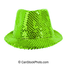 festively green hat - one festively shining green hat, full...
