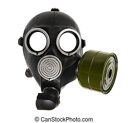 gas-mask - the black gas-mask close up, on white background;...