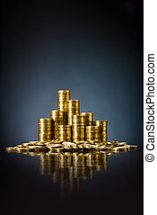 gold money - still life of very many rouleau gold monetary...