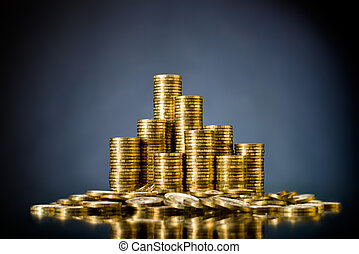 money - still life of very many rouleau gold monetary or...