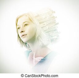 Double exposure of woman with skyscrapers and swan - Double...
