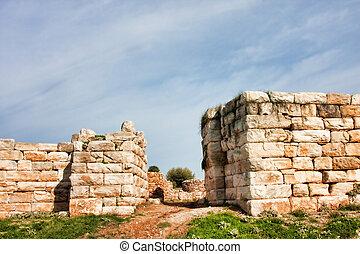 Main gate of the Archeological site of Rhamnus in Attica,...