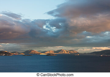 Salamina Island - Panoramic landscape at sunset of Salamina...