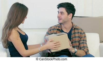 Dream come true, moving. Loving couple enjoys a new...