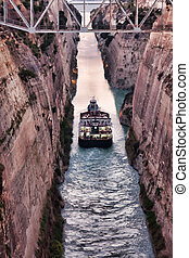 Corinth Canal - Ship crossing the Corinth Canal in Greece.