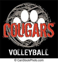 cougar volleyball - distressed cougar volleyball design with...