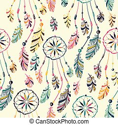 Dream catcher seamless pattern - Seamless pattern with...