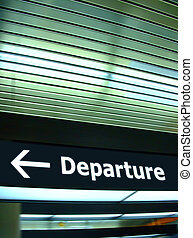 Departure - Tourist info signage in airport in international...