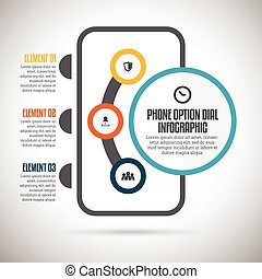 Phone Option Dial Infographic - Vector illustration of phone...