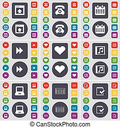 Window, Retro phone, Calendar, Rewind, Heart, Note, Laptop, Equalizer, Survey icon symbol. A large set of flat, colored buttons for your design. Vector
