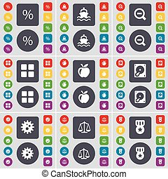 Percent, Ship, Magnifying glass, Apps, Apple, Hard drive, Gear, Scales, Medal icon symbol. A large set of flat, colored buttons for your design. Vector