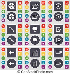 Videotape, Picture, Flash, Link, Tree, Survey, Arrow left, Graph, Laptop icon symbol. A large set of flat, colored buttons for your design. Vector