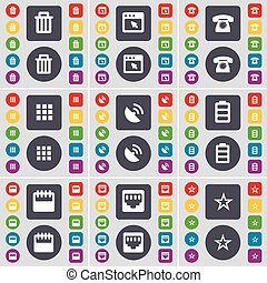Trash can, Window, Retro phone, Apps, Satellite dish, Battery, Calendar, LAN socket, Star icon symbol. A large set of flat, colored buttons for your design. Vector
