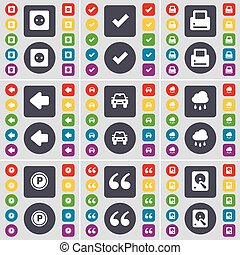 Socket, Tick, Printer, Arrow left, Car, Cloud, Parking, Quotation mark, Hard drive icon symbol. A large set of flat, colored buttons for your design. Vector
