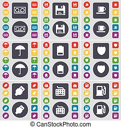 Speaker, Floppy, Cup, Umbrella, Battery, Badge, USB, Keyboard, Gas station icon symbol. A large set of flat, colored buttons for your design. Vector